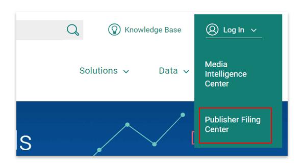 Publisher Filing Center login