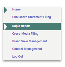 Rapid Report option in the Publisher Filing Center menu
