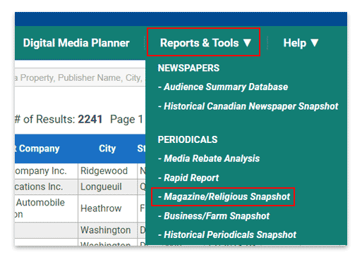 Select Magazine Snapshot from the Reports & Tools menu.