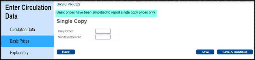 Basic Prices section
