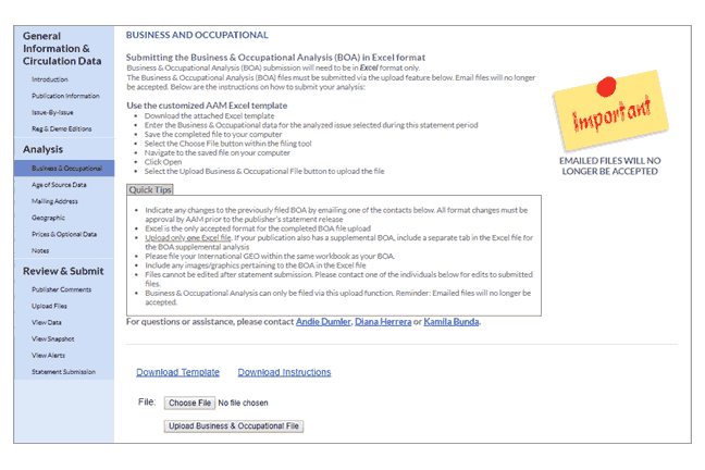 Business Occupational Analysis page