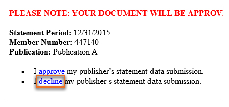 Decline your data submission