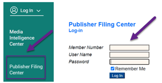 Publisher Filing Center login
