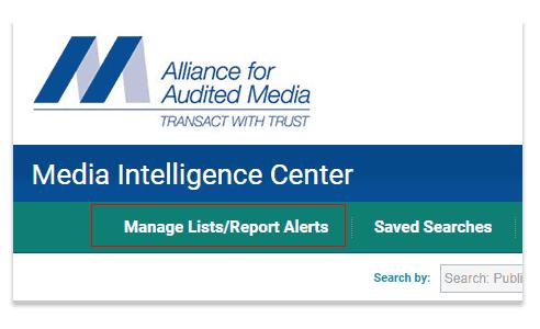 Click Manage Lists/Report Alerts