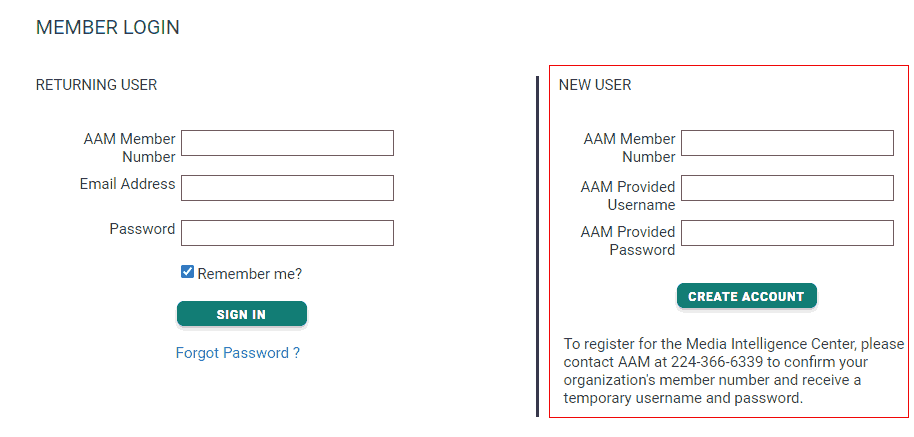Enter your AAM-supplied member number, username and temporary password in the New User section.