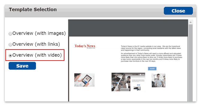 Select the Overview template with video.