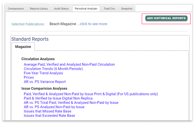 Select the Add Historical Reports button in the Periodical Analyzer