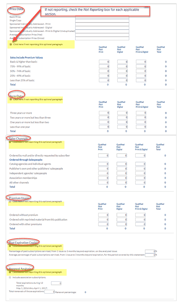 Price Data and other optional data