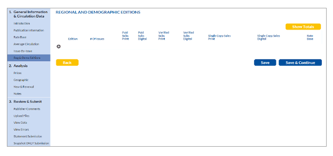 Regional and Demographic Editions screen