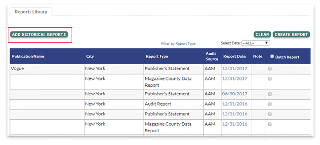Viewing historical reports in the Reports Library.