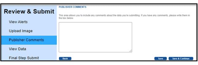 Publisher Comments section