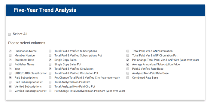 Select report columns