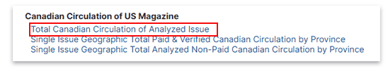 Select Total Canadian Circulation of Analyzed Issue report