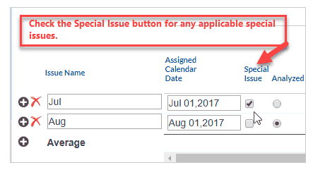 Check the Special Issue button for any applicable special issues.