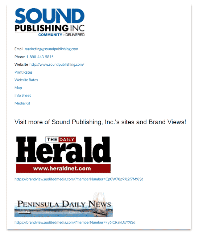 Sound Publishing Brand View learn more tab.