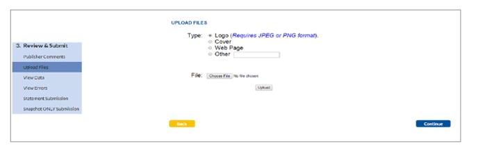 Upload Files screen