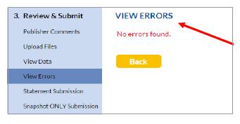 View Errors screen
