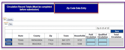 ZIP code data entry tab